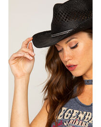 Shyanne® Women's Black Bling Straw Hat, , hi-res