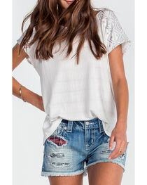 Miss Me Women's Ivory Hi-Lo Embroidered Top , , hi-res