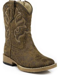 Roper Toddler  Boys' Distressed Faux Leather Cowboy Boots - Square Toe, , hi-res