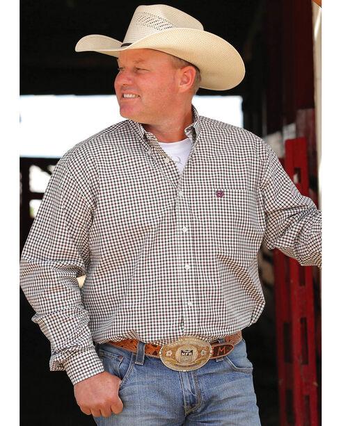 Cinch Men's Cream Long Sleeve Plaid Shirt , Cream, hi-res