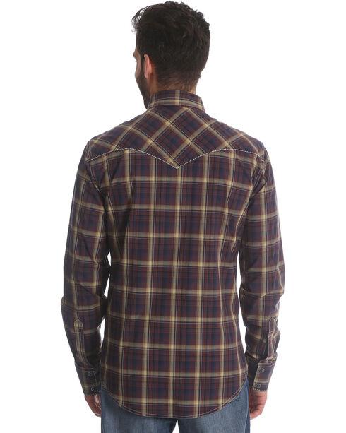 Wrangler Retro Men's Brown/Black Plaid Long Sleeve Snap Shirt, Brown, hi-res