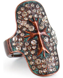 Shyanne® Women's Rhinestone Studded Cross Stretch Ring, , hi-res