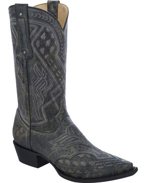 Corral Men's Embroidered Snip Toe Western Boots, Black, hi-res