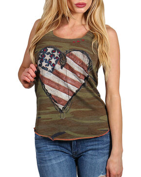 Bohemian Cowgirl Women's Camo and Americana Heart Tank, Camouflage, hi-res