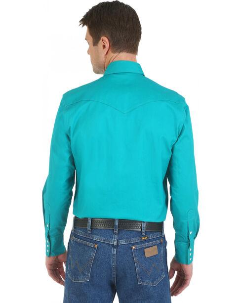 Wrangler Men's Advanced Comfort Long Sleeve Western Shirt, Turquoise, hi-res