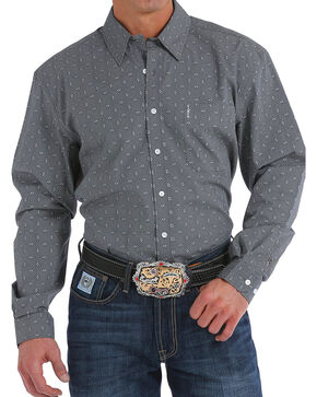Cinch Men's Modern Fit Charcoal Print Long Sleeve Button Down Shirt, Charcoal, hi-res