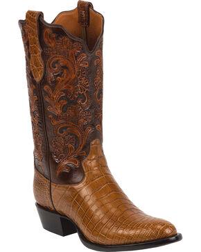 Tony Lama Men's Signature Crocodile Exotic Boots, Brandy, hi-res