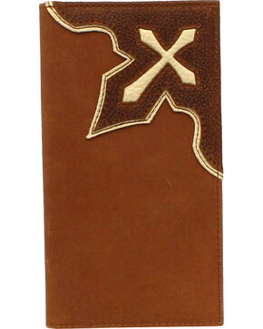 Nocona Men's Leather Rodeo Tooled Cross Wallet , Medium Brown, hi-res