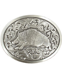 Nocona genuine silver plated hog buckle, , hi-res