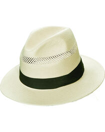 Scala Natural Toyo with Pleated Trim Fedora Hat, , hi-res