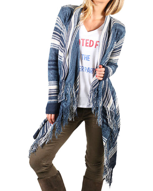 Say What Women's Fringe Trimmed Cardigan, Navy, hi-res