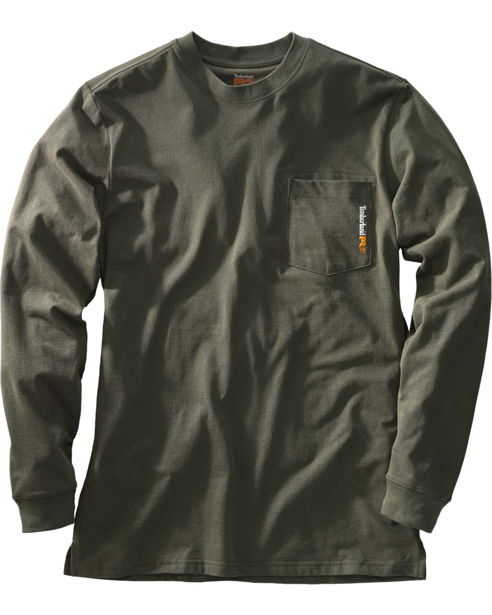 Timberland Men's Chest Pocket Long Sleeve Tee, Olive Green, hi-res