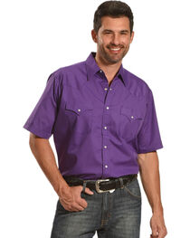 Ely Cattleman Men's Purple Short Sleeve Western Snap Shirt, , hi-res