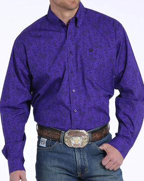 Cinch Men's Purple Paisley Print Long Sleeve Button Down Shirt, Purple, hi-res