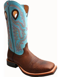 Twisted X Light Blue Ruff Stock Cowboy Boots - Square Toe, , hi-res