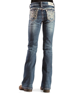 Grace in L.A. Girls' Bejeweled Bootcut Jeans, Denim, hi-res
