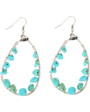 Shyanne® Women's Turquoise Bead Teardrop Hoop Earrings, Turquoise, hi-res