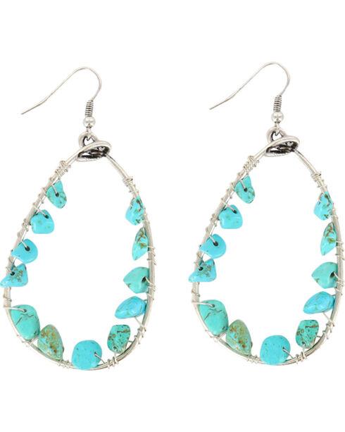 Shyanne® Women's Turquoise Bead Teardrop Hoop Earrings, Turquoise, hi-res