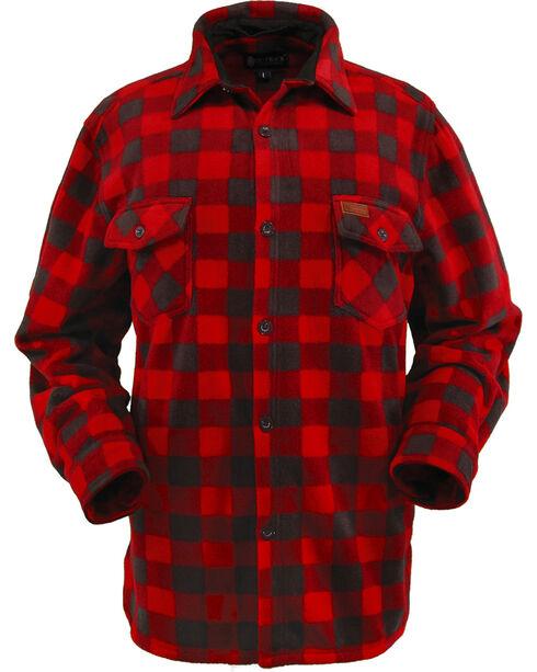 Outback Trading Men's Big Fleece Long Sleeve Shirt, Red, hi-res