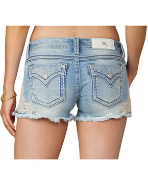 Miss Me Women's Lace Be A Lady Shorts, Blue, hi-res