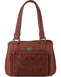 Montana West Women's Built-in Wallet Tooled Messenger Bag , , hi-res