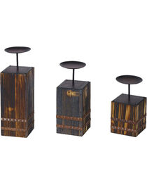 HiEnd Accents Wood and Metal Candle Holders - Set of 3, , hi-res