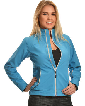 Cowgirl Legend Women's Turquoise Bonded Softshell Jacket , Turquoise, hi-res