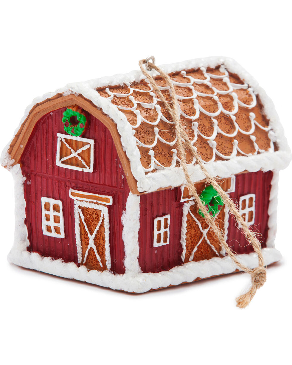 BB Ranch Gingerbread Barn Ornament, Brown, hi-res