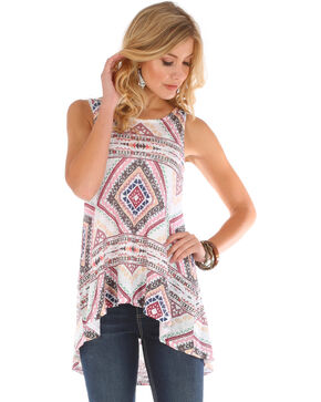 Wrangler Women's Ivory Diamond Print Sleeveless Tunic , Ivory, hi-res