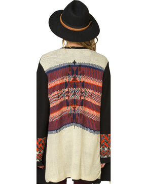 Miss Me Women's Aztec Patterned Oversized Cardigan, Black, hi-res
