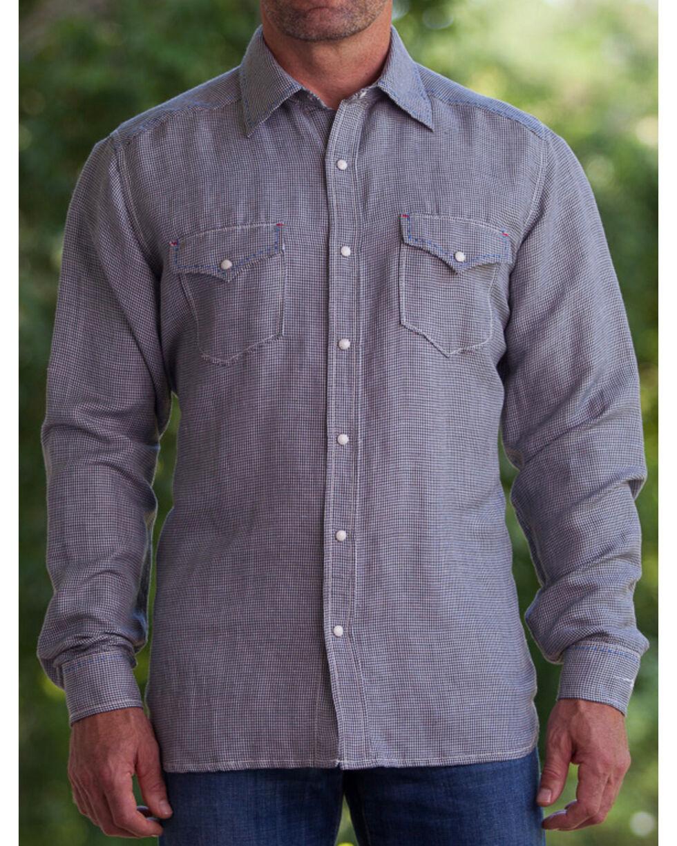 Ryan Michael Men's Black Hounds Tooth Silk Linen Western Shirt , Black, hi-res