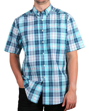 Ariat Men's Plaid Short Sleeve Shirt, Aqua, hi-res