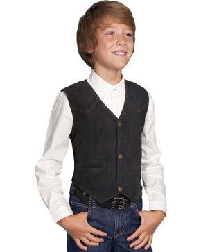Scully Kid's Boar Suede Vest, Black, hi-res