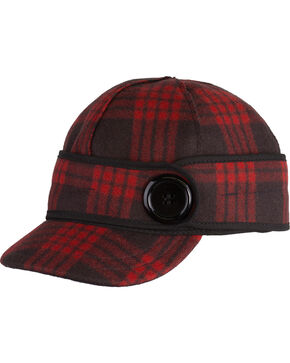 Stormy Kromer Women's Tartan Plaid Button Up Cap , Red, hi-res