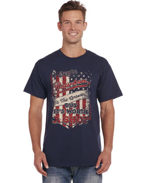 Cowboy Up Men's Navy Bourbon Tee , Navy, hi-res