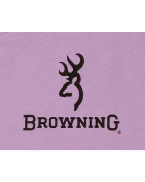 Browning Women's Lavender Glitter Buckmark T-Shirt , Lavender, hi-res
