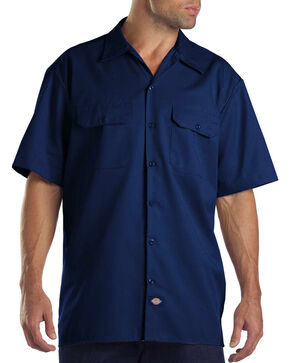Dickies Men's Navy Hanging Short Sleeve Work Shirt , Navy, hi-res