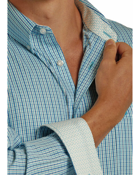 Panhandle Men's Yarndye Satin Check Shirt , Blue, hi-res