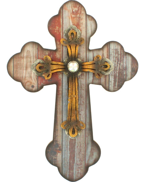 M&F Distressed Wooden Cross Wall Decor, Brown, hi-res