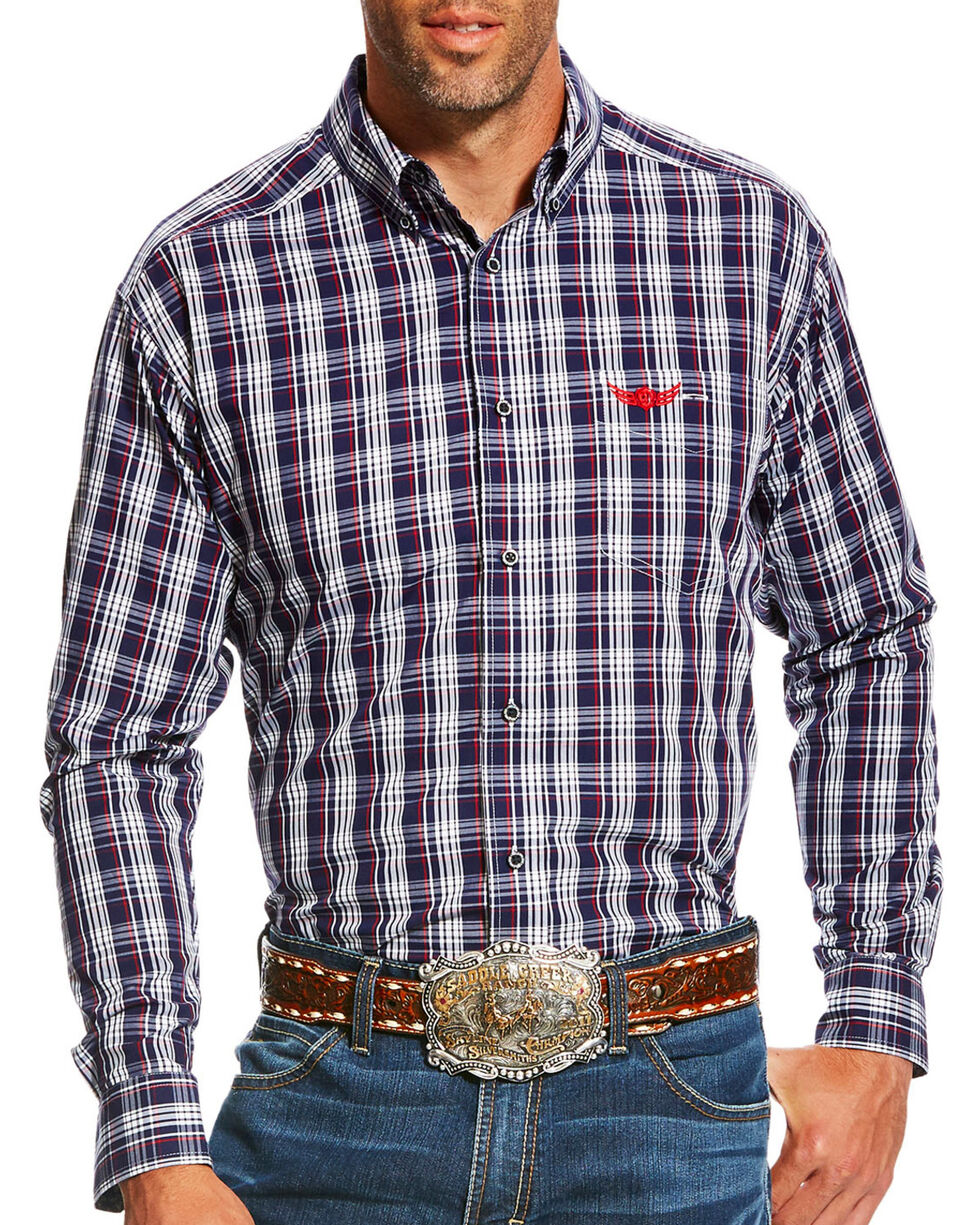 Ariat Men's Navy Power Long Sleeve Plaid Shirt , Navy, hi-res