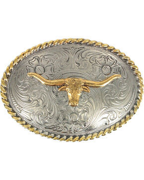 Cody James® Boy's Long Horn Oval Belt Buckle, Silver, hi-res