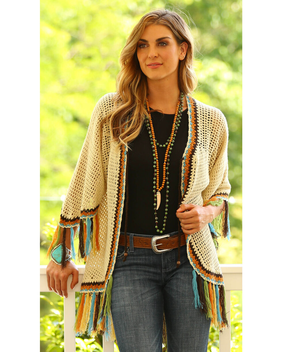 Wrangler Women's Fringed Crochet Cardigan , , hi-res