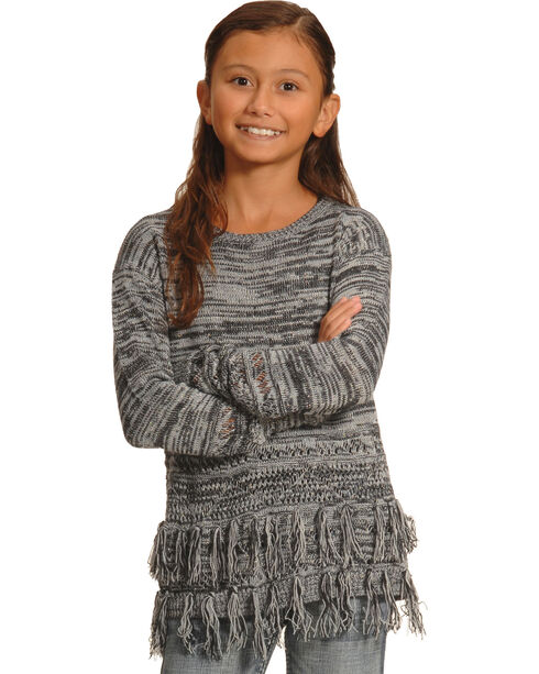 Derek Heart Girls' Grey marled Fringe Tunic , Grey, hi-res