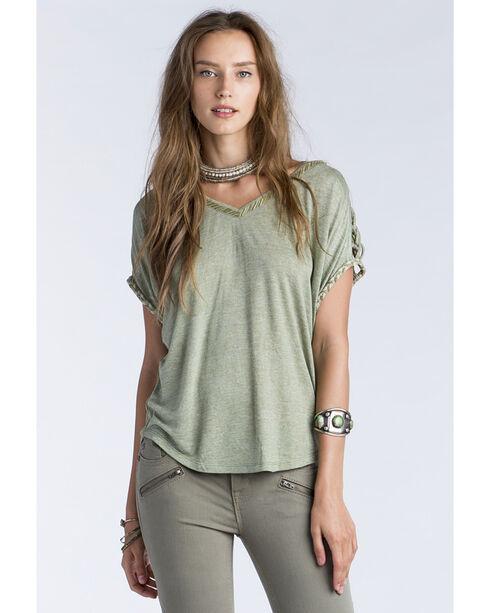 Miss Me Women's Olive Macrame Shoulder Detail Short Sleeve Shirt, , hi-res