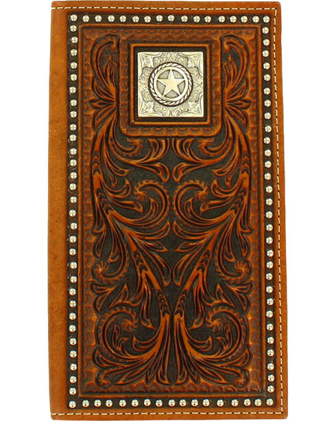 M&F Western Men's Square Star Concho Rodeo Wallet, Brown, hi-res