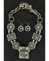 Blazin Roxx Rectangle Concho & Faux Turquoise Necklace & Earrings Set, , hi-res