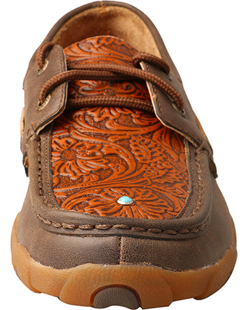 Twisted X Women's Floral Tooled Lace Up Driving Mocs - Moc Toe, Brown, hi-res