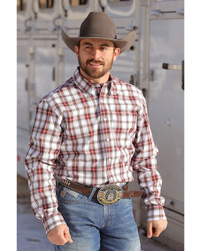 Cinch Men's White Modern Fit Plaid Western Shirt , White, hi-res