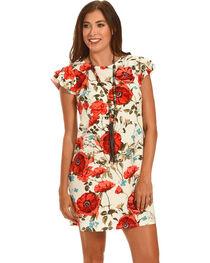 Ces Femme Red Poppy Print Cap Sleeve Dress , , hi-res