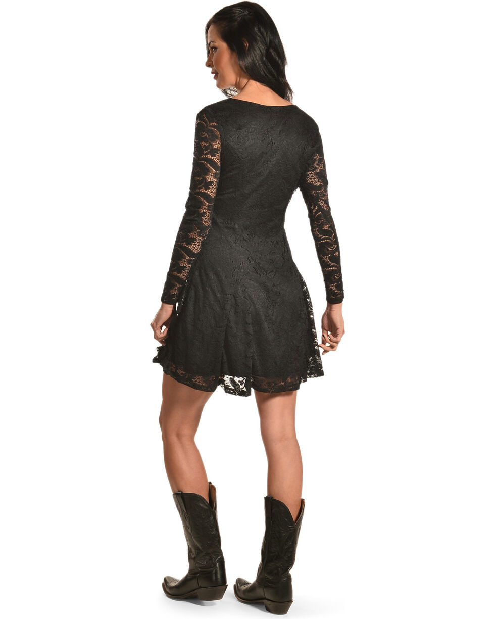 Jody of California Women's Criss Cross Neck Black Lace Dress, Black, hi-res